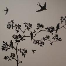 arbre oiseaux monochrome / chambre parental