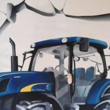 Mur cassé décor thème tracteur / salle de jeux enfant